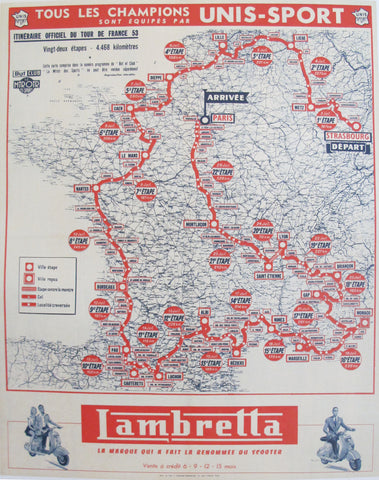 1953 Original French Bicycle Poster, Tour de France Map