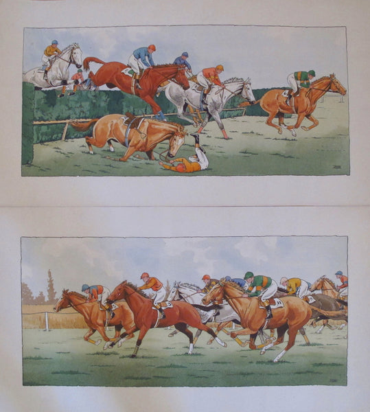 1920s - 1930s Vintage French Art Deco Equestrian Posters, Horse Race and The Fall (Set of 2) - Etienne Le Rallic