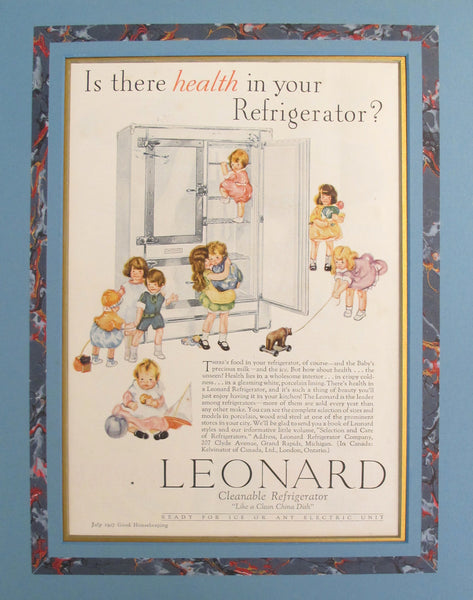 "1920's Vintage American Advertisement - Good Housekeeping magazine - Leonard Cleanable Refrigerator ""Like a Clean China Dish"""