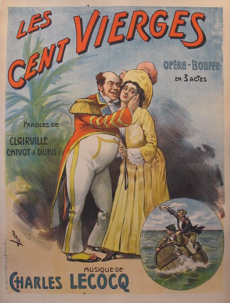 1910s Original French Cabaret Poster, Les Cent Vierges