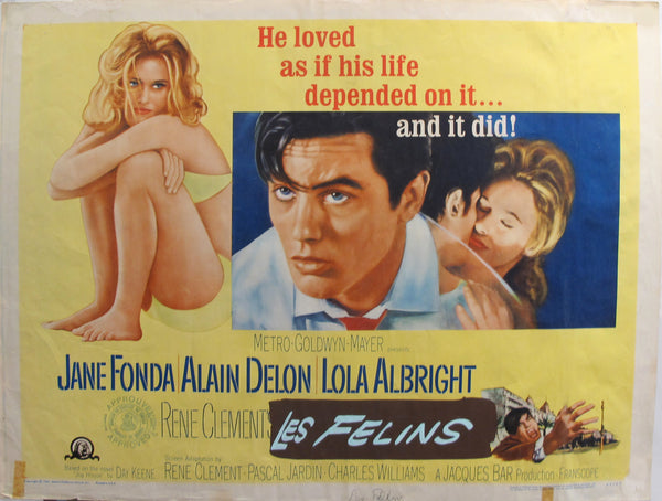 "1964 Original American Movie Poster - ""Joy house"" (Les Félins) with Jane Fonda & Alain Delon"