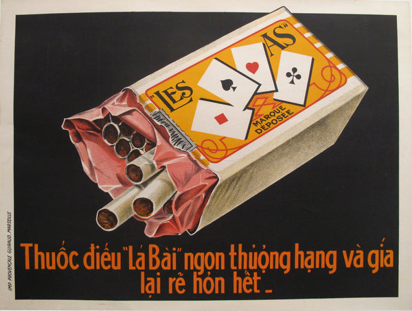 1915 Original Vietnamese Cigarette Poster - La Bai / Les As