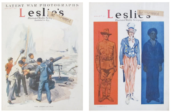 1917 Leslie's Illustrated Weekly Newspaper (set of 2)