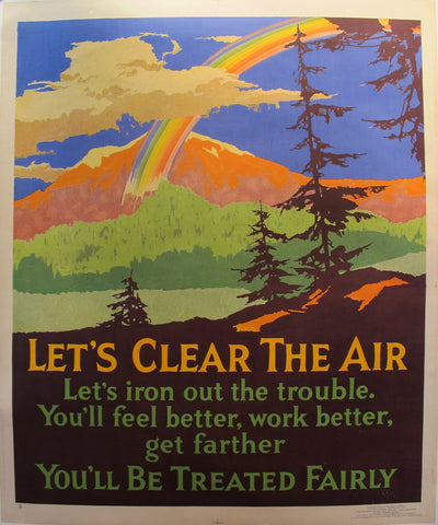 1929 Original Motivational Poster, Let's Clear the Air, Mather Work Incentive