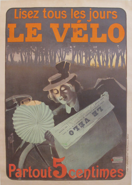 1899 Original Vintage French Newspaper Advertisement poster, Lisez Le Velo