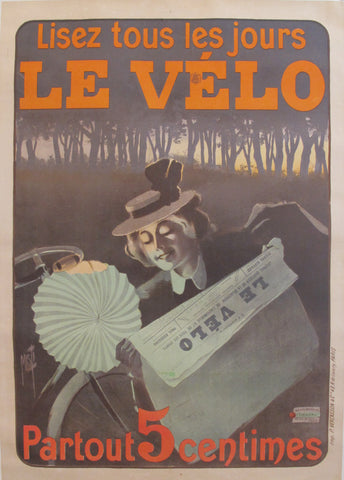 1899 Original Vintage French Newspaper Advertisement poster - Lisez Le Velo