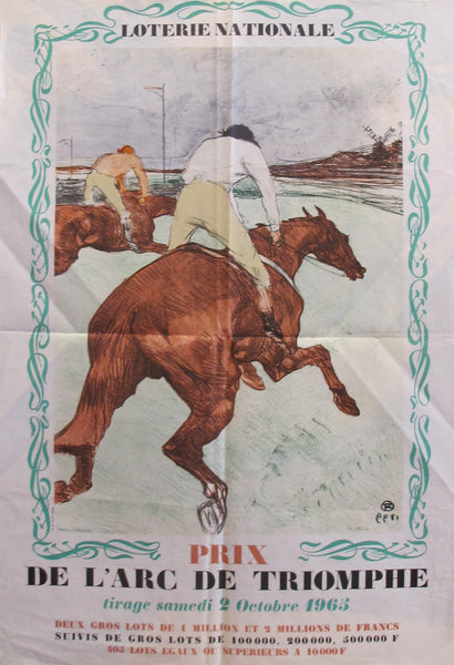 "1965 French Vintage Original Poster, Loterie Nationale Advertisement ""Prix de l'arc de Triomphe 2 Octobre 1965"" - Henri de Toulouse Lautrec"