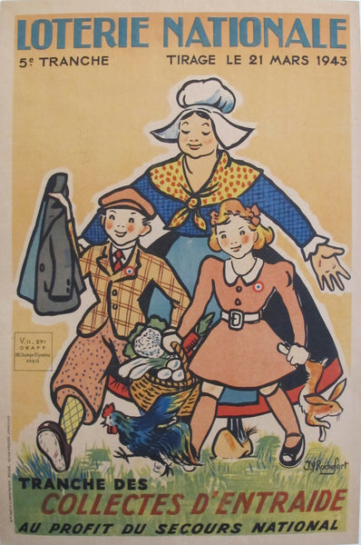 1943 French Loterie Nationale Poster, Collectes d'entraide