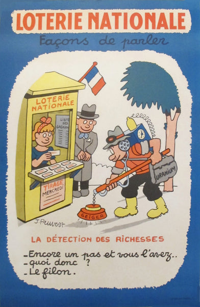 "1950's French Loterie Nationale Poster - ""Detection des richesses"""
