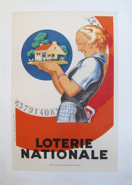 1925 Original French Art Deco Poster, Loterie Nationale