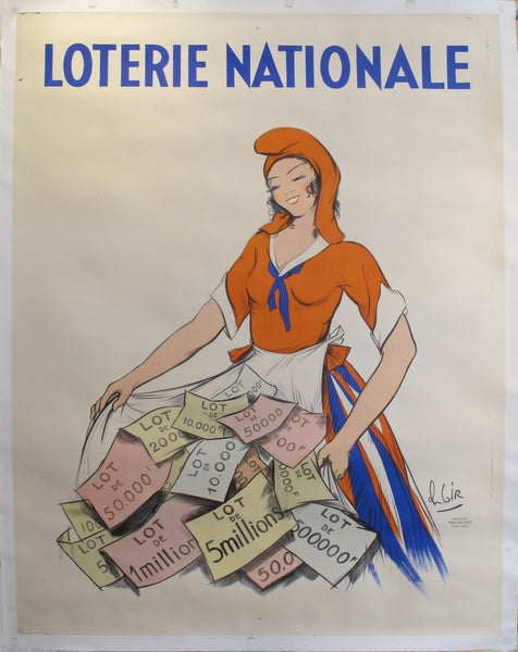 1935 Original French Art Deco Poster - Loterie Nationale - Woman -by Gir