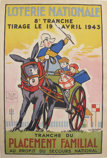 1943 Vintage Original French Loterie Nationale Poster, Placement Familial