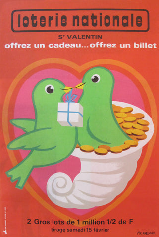 1975 French Loterie Nationale Poster, St Valentin Love Birds