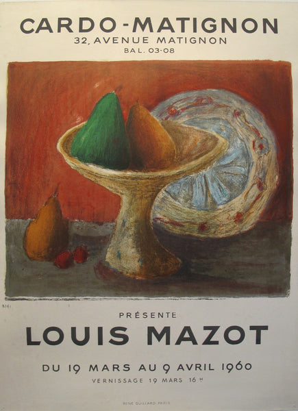 1960 Original French Exhibition Poster, Louis Mazot at Cardo-Matignon Gallery