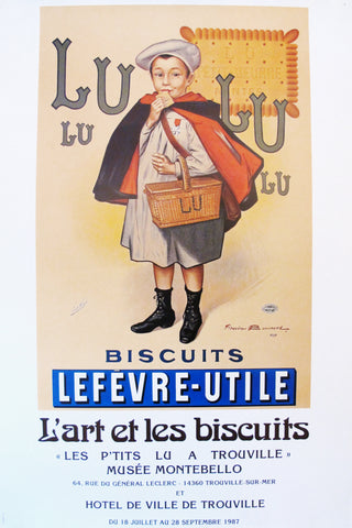 1987 Original French Exhibition Poster, Biscuits LU Lefèvre-Utile