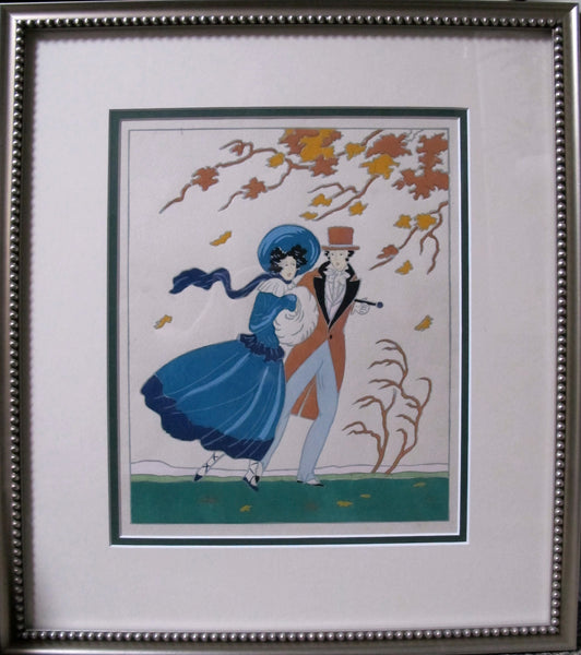 1915 -1920 Framed Autumn Fashion Pochoir - Lucien Baubaut
