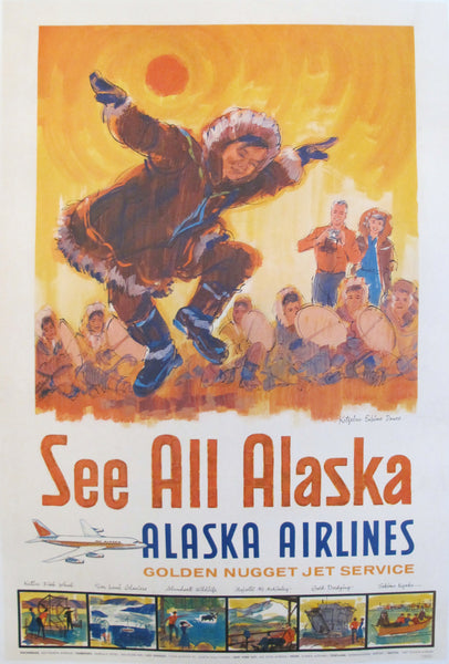 1960s Original American Travel Poster, See All Alaska