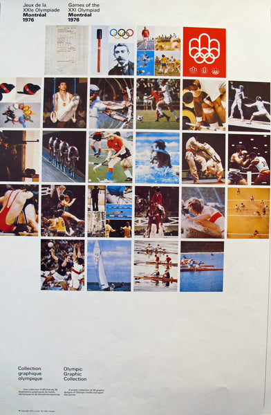 1976 Montreal Olympics Poster, Double Canoeing/Mosaic - COJO