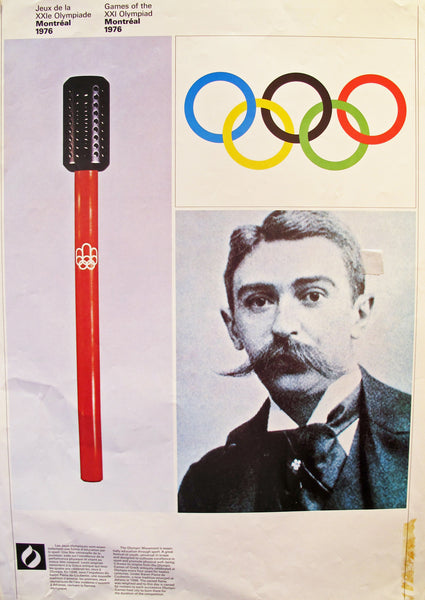 1976 Montreal Olympic Poster, Double-sided, Pierre de Coubertin/Physical Conditioning - COJO