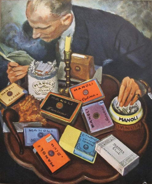 1927 Vintage German Mini Poster, Manoli Cigarettes