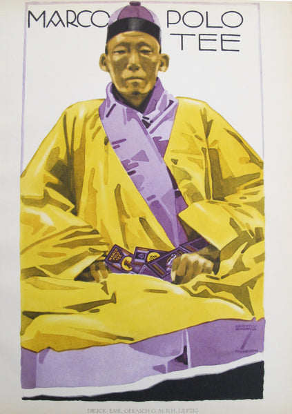 1926 Original German Art Deco Poster, Marco Polo Tee (Seated Monk in Purple Cap)