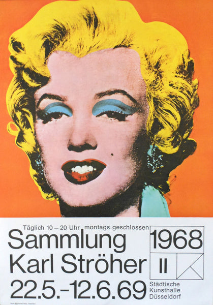 1968 Original German Andy Warhol Exhibition Poster, Marilyn Monroe