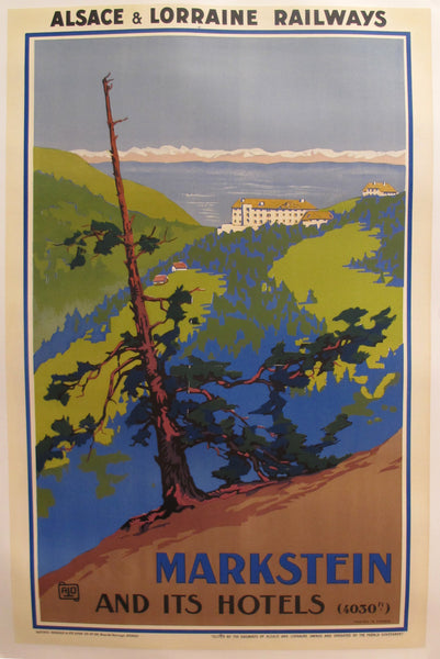 1930s Original French Travel Poster, Markstein and it's Hotel (Alsace et Lorraine Railways)