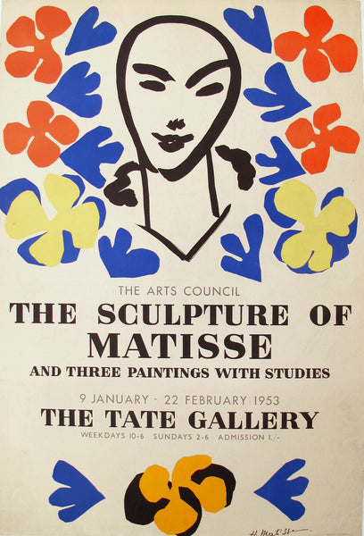 1953 Original Matisse Exhibition Poster, The Sculpture of Matisse, Tate Gallery - Matisse