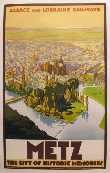 1930s Original French Art Deco Travel Poster, Metz (The City of Historic Memories)