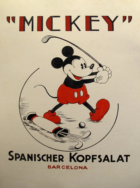 1940s German Vintage Poster, Mickey Mouse Spanischer Kopfsalat, Barcelona - Anonymous