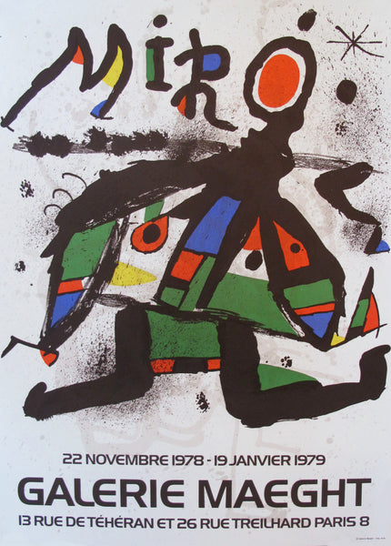 1978 Surrealist Abstract Poster, Joan Miro at Galerie Maeght