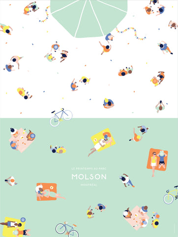 2016 Modern Montreal Travel Poster, Spring at Molson Park