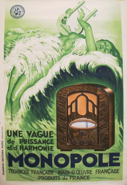 1934 Original French Art Deco Poster, Radio Monopole (unlined)