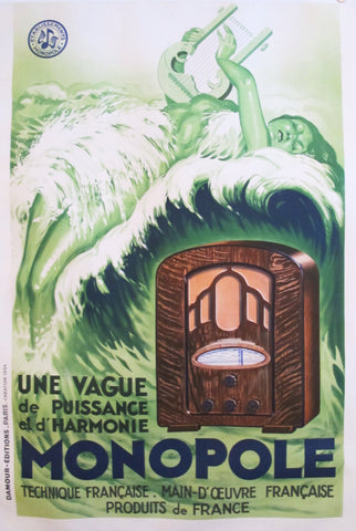 1934 Original French Art Deco Poster, Radio Monopole (linen backed)