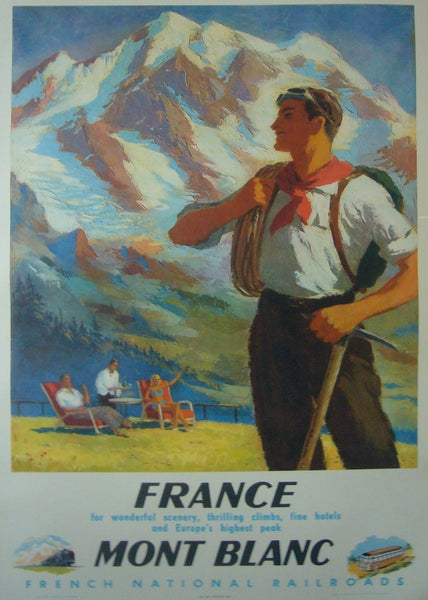 1948 Original French Travel Poster, Mont-Blanc