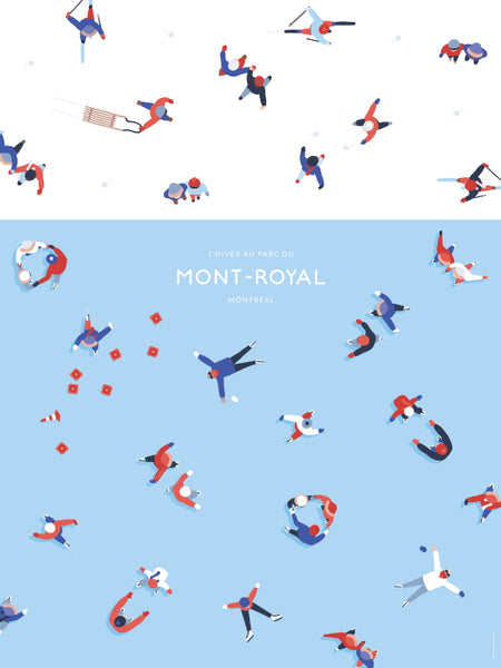 2016 Modern Montreal Travel Poster, Winter at Park Mont Royal