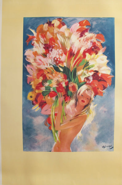 1940s Monacan Travel Poster, Monte Carlo Flower Girl