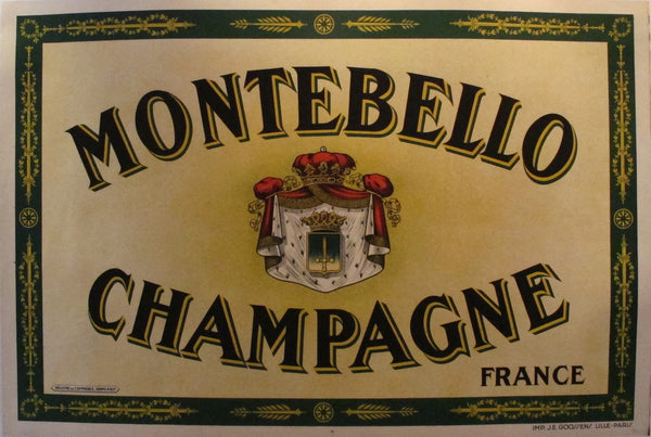 1920s French Art Deco Alcohol Poster, Champagne Montebello