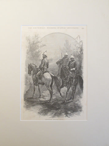 1880s North-West Mounted Police Lithograph, Matted - Schell and Hogan