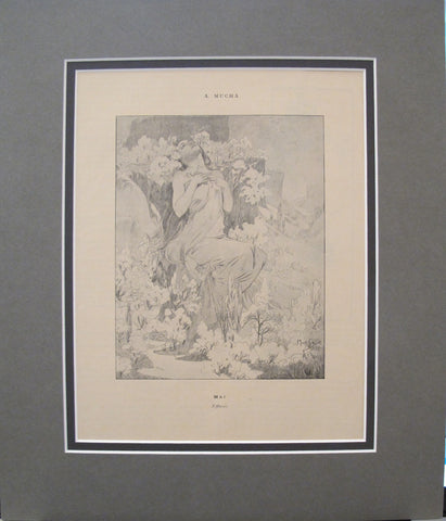 1899 Original Cocorico Mucha Illustration, May (Effluves)