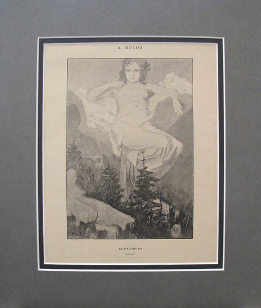 1899 Original Cocorico Illustration - September \ Septembre (Serenite)