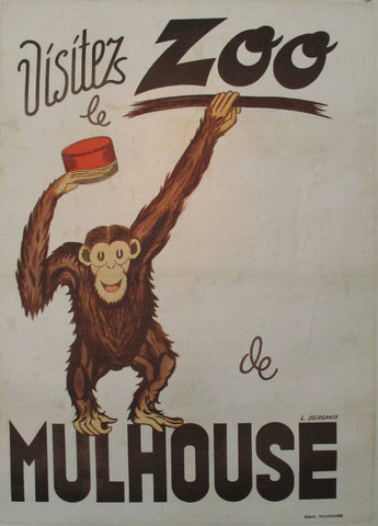 1930s Original French Zoo Poster, Visitez le Zoo Mulhouse, Monkey