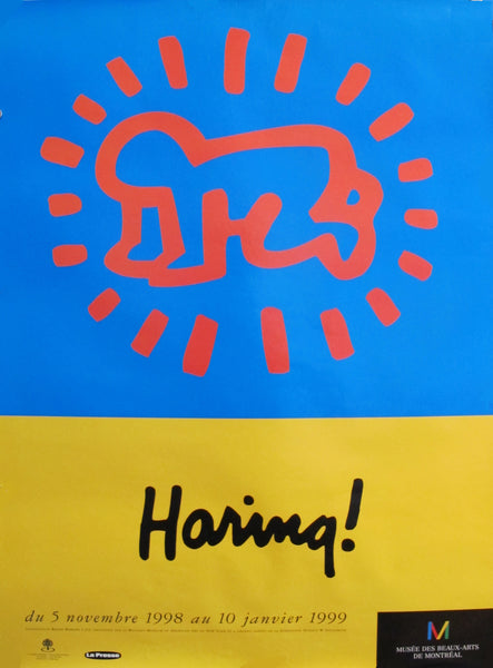 1998 Original Keith Haring Poster, Haring! Exhibition at MMFA (blue)
