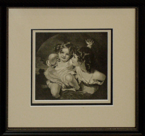 1880s Original American Victorian Etching, Little Girls (Framed) - Reid