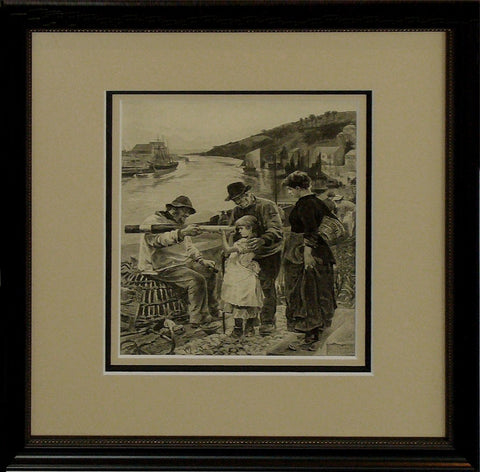 1880s Original American Victorian Etching, Group At Harbour (Framed) - Reid