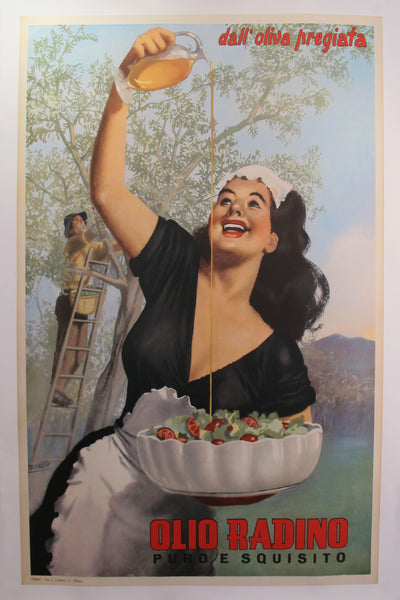 1950 Original Italian Advertising Poster Olio Radino (Olive Oil) Large version