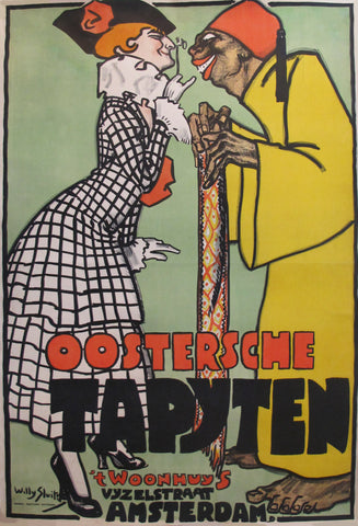 1916 Original Dutch Art Deco Poster - Oosterche Tapyten