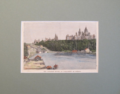 1860s Engraving of the Parliament of Ottawa, Hand coloured