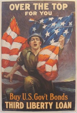 1918 Vintage American WW1 Poster, Over the Top For You