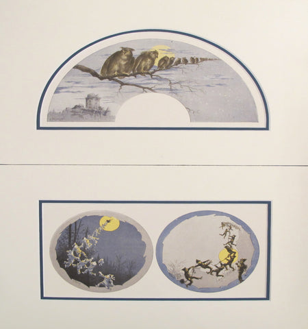 1870's Vintage French Fan Design - Owls & Moons (Matted - Set of 2)